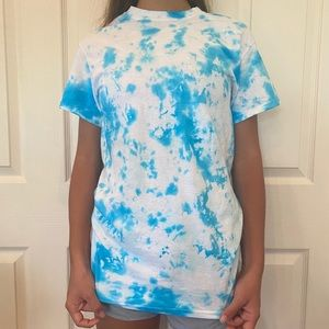 Upcycled Hand Tie Dyed Blue Tshirt Size Small
